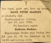 Hans Peter Madsen, dødsannonce