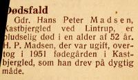 Avisnotits om Hans Peter Madsens død