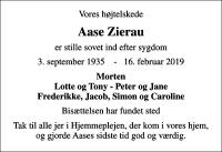 Dødsannonce på afdoede.dk