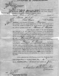 H I Lund 1905 Naturalization Certificate Canada